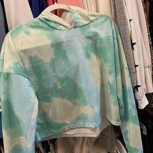 Tie dye blue/green cropped hoodie